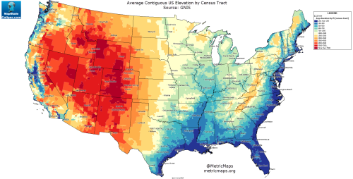 Average Contiguous US Elevation by Census Tract. | Maps: United ...