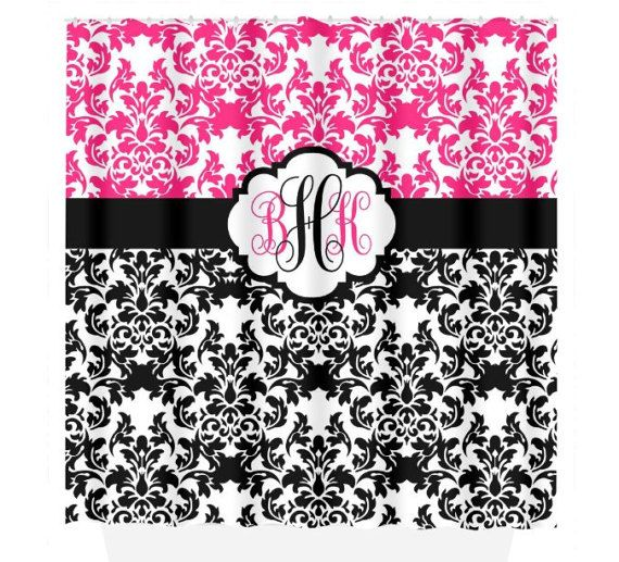 Damask SHOWER CURTAIN Hot Pink Black Custom MONOGRAM Personalized Bathroom  Decor Damask Bathroom Beach Towel Plush