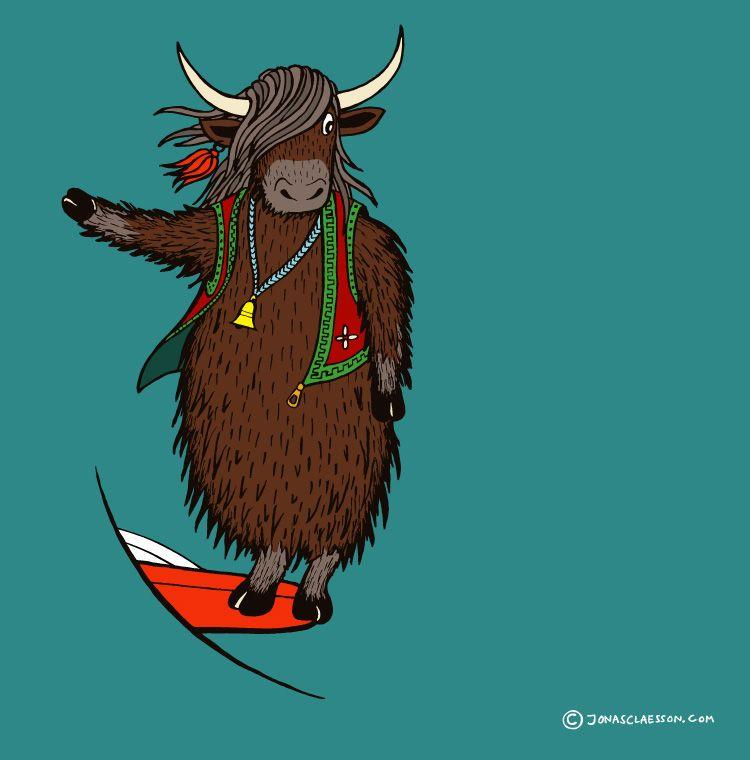 surfing-yak-illustration.jpg (750×760)