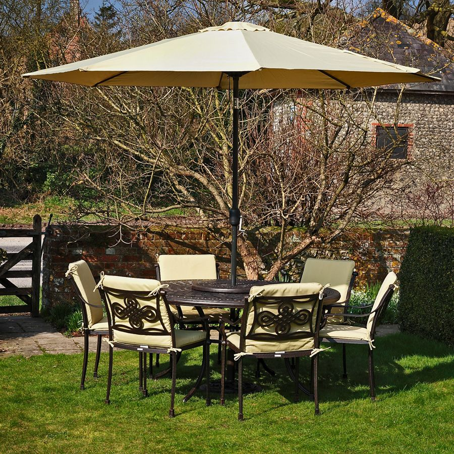 Furniture, Stylish Patio Umbrella Feat Wrought Iron Chairs And Table ...