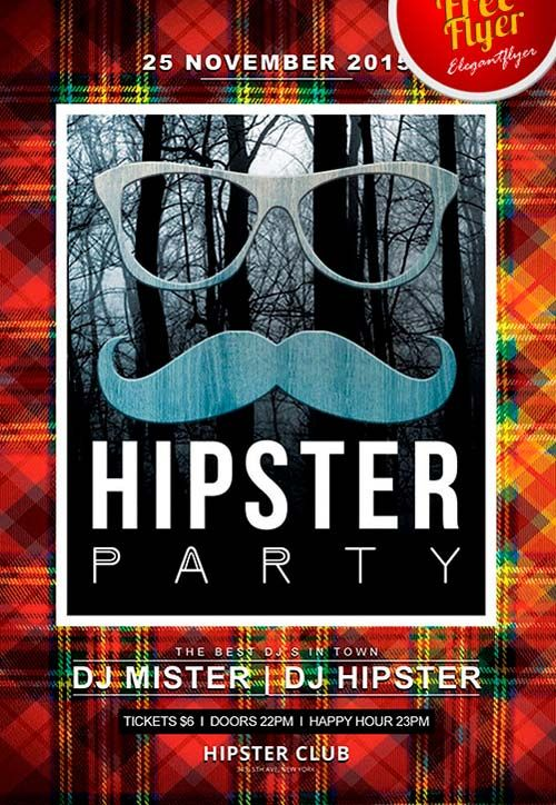 Free Hipster Party Flyer PSD Template -    freepsdflyer - free templates flyer