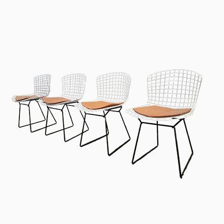 Weiße \ Schwarze Wire Stühle von Harry Bertoia für Knoll, 4er Set - esszimmer 1950