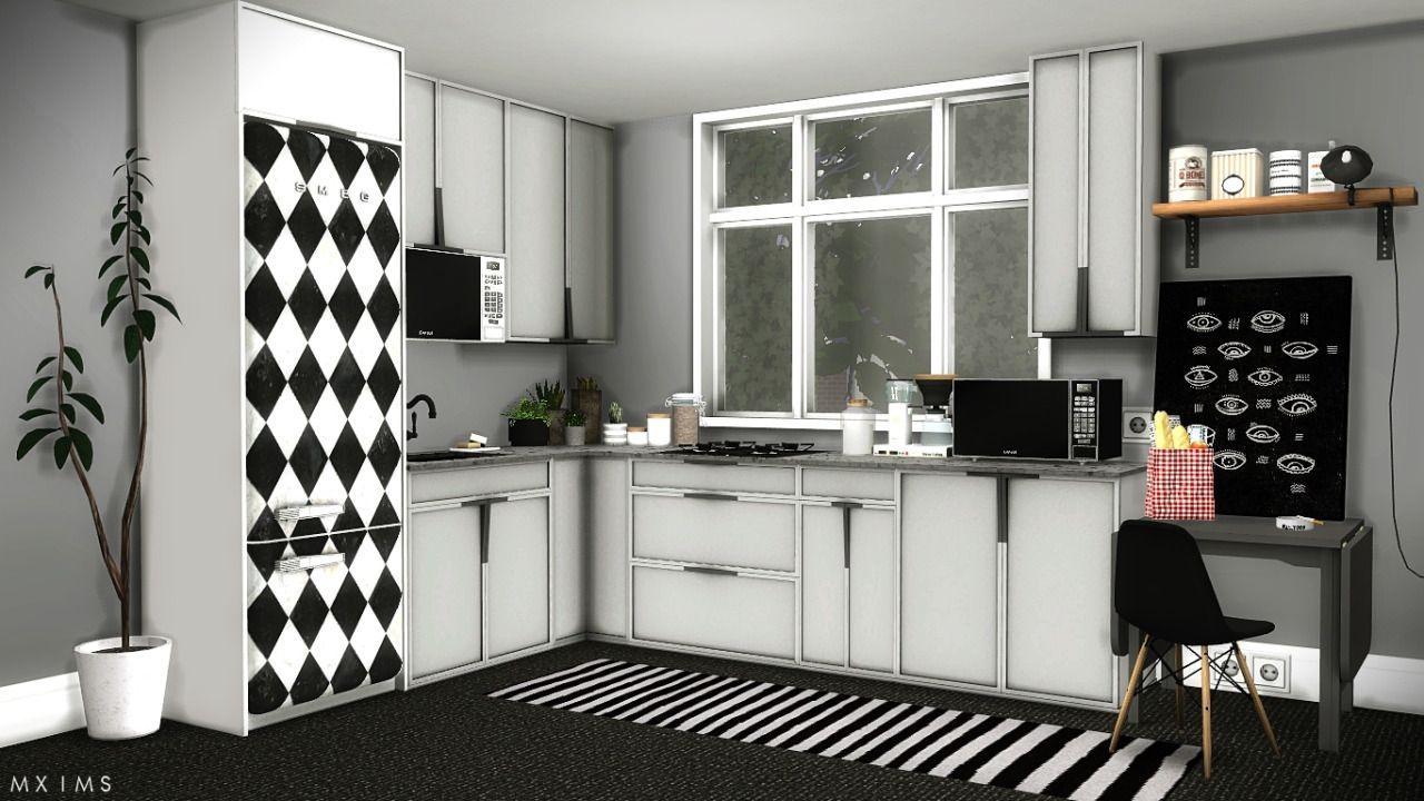 Mxims louise kitchen set furnitures kitchen sims4 for Kitchen set sims 4