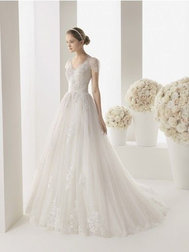 A-Linie/Princess-Stil Kurze Ärmel Hof-Schleppe V-Ausschnitt Tülle Spitze Brautkleider