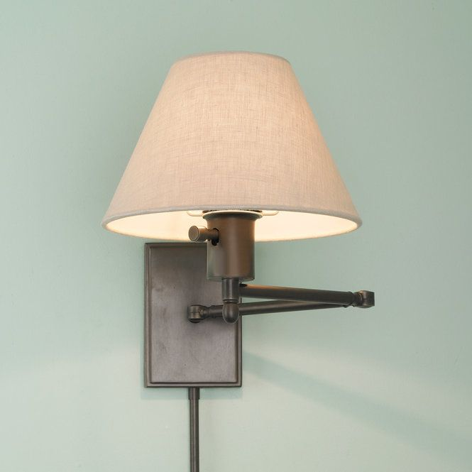 This Simplistic Swing Arm Wall Lamp Has Modern European Lines With A Minimalist Rolled Edge Linen Shade In Pol Swing Arm Wall Lamps Wall Lamp Wall Lamp Shades