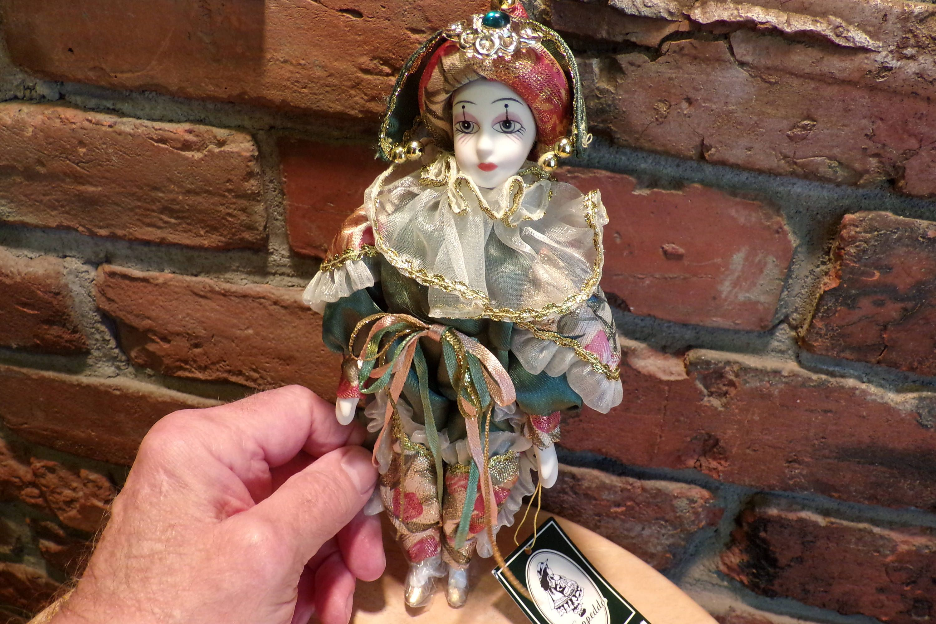Geppeddo Elegant Porcelain Harlequin Jester Clown DOLL Green Roses, Geppeddo Porcelain Clown (Jester) by Morethebuckles on Etsy