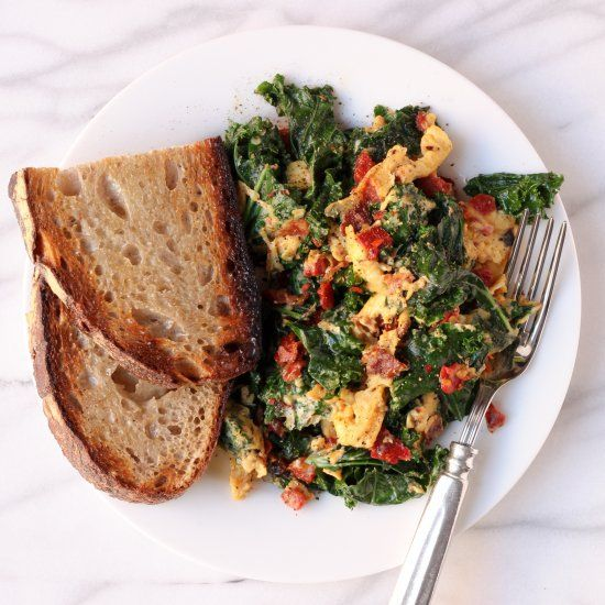 Kale, Pancetta, and Sundried Tomato Scramble | A vegetable-packed way to start your day. (It's also a stellar breakfast-for-dinner option).