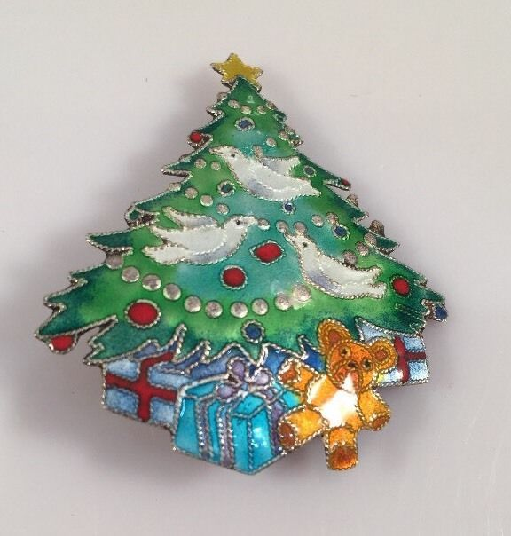Nice VINTAGE STERLING SILVER CHRISTMAS TREE PIN BROOCH WITH MULTI COLOR ENAMEL |  EBay