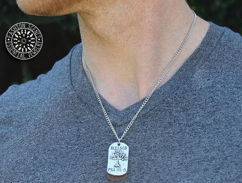 """20"""" Men's Dog Tag Diffuser Necklace- 'BLESSED' – Fashion Scents Essential Oil Jewelry"""