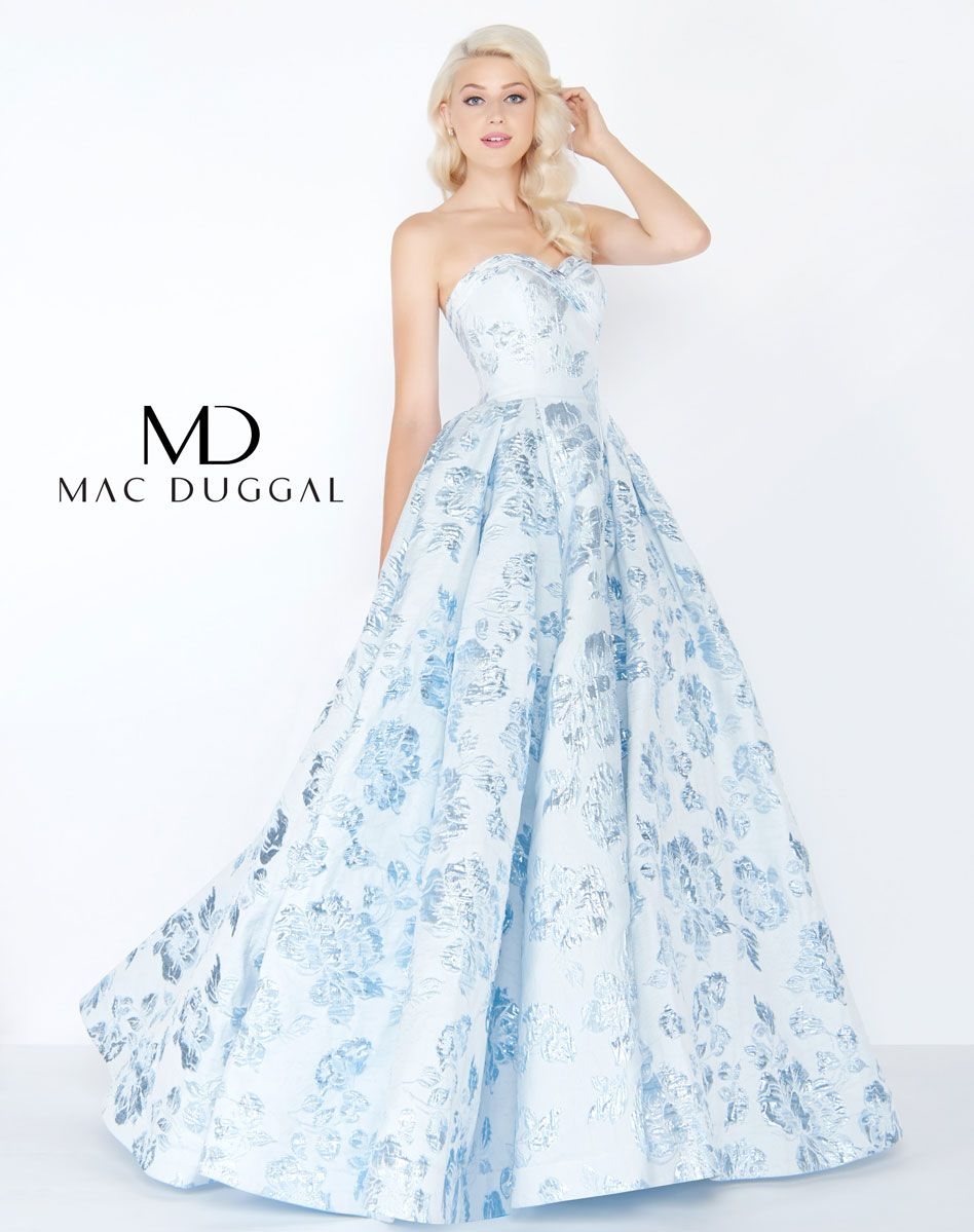 7a7b8aef710a Ball gown prom dress with small train in either Blush or Powder-Blue ...
