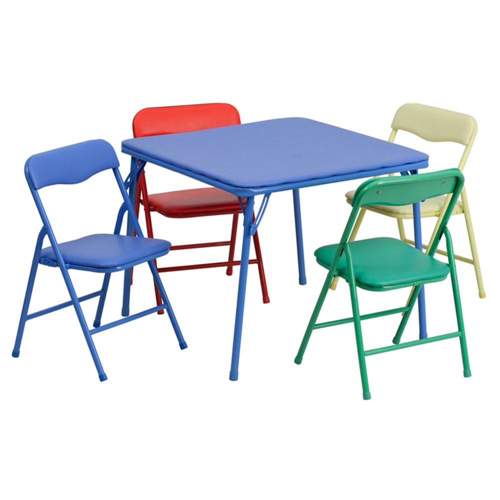 - Kids Activity Folding Table And Chair Set Colorful 5 Piece Daycare