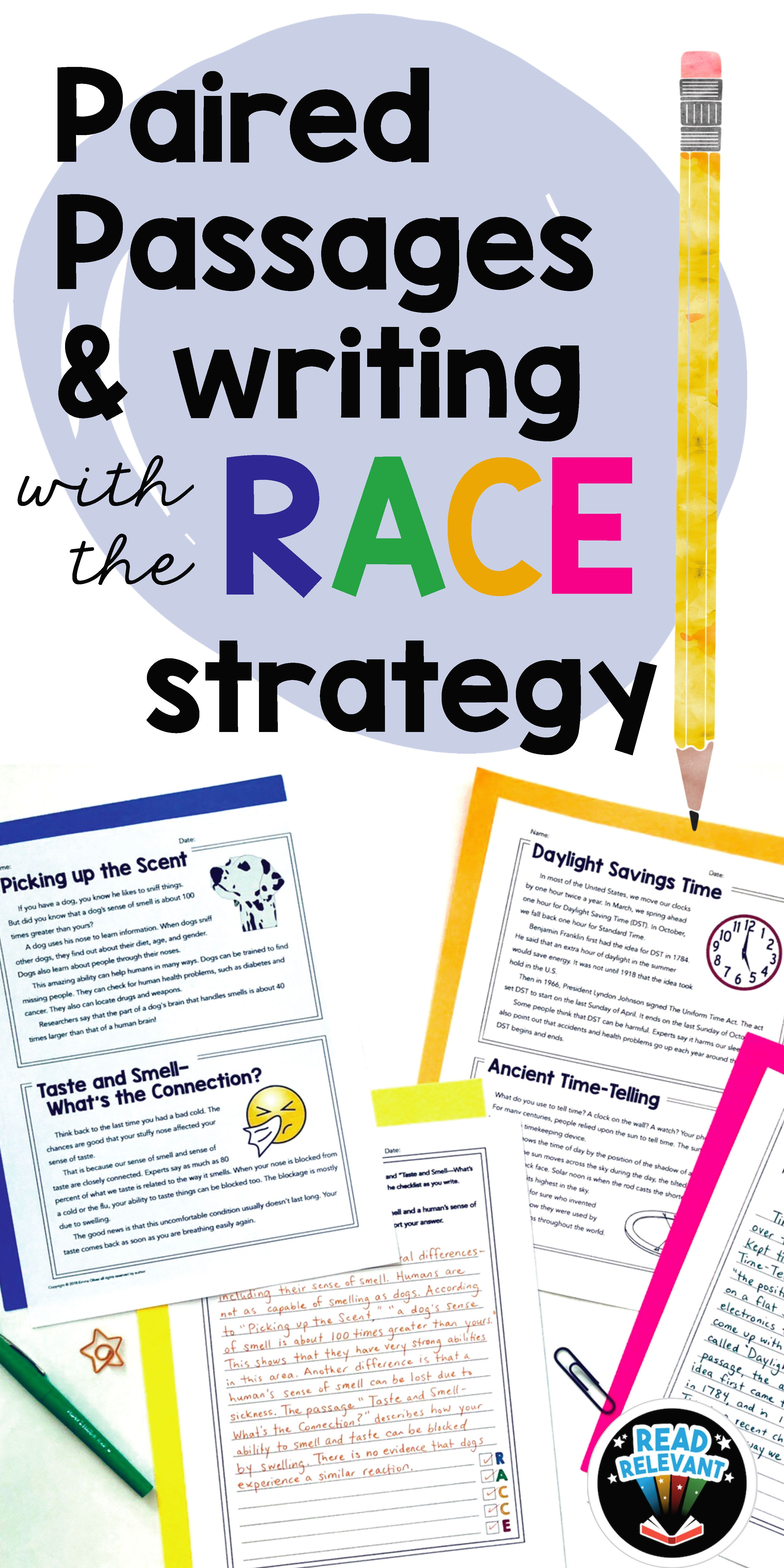 Paired Passages And Writing With The Race Strategy Grades