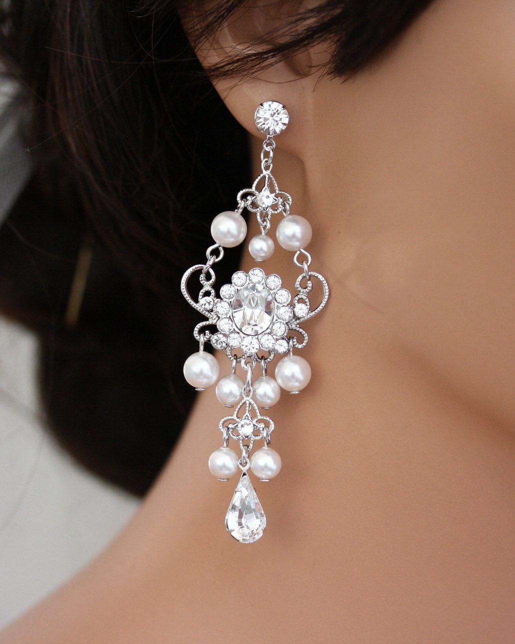 pearl rhinestone chandelier earrings, white pearl bridal earrings ...