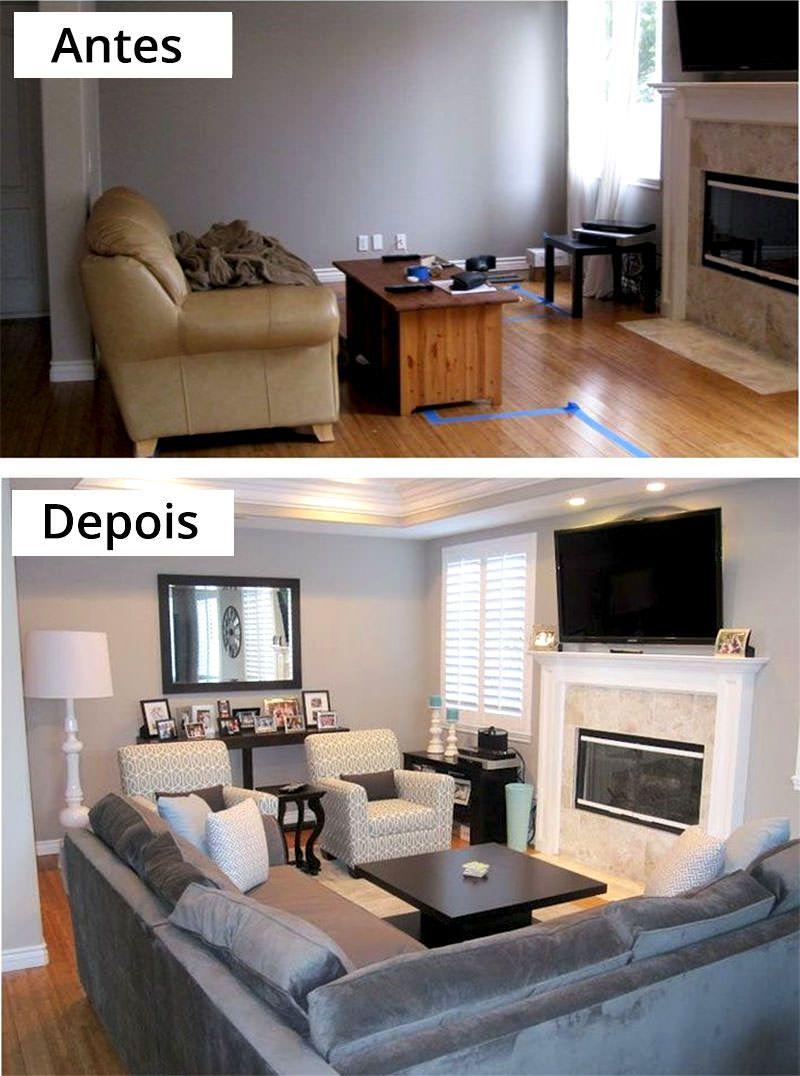 2-Sala pequena antes e depois Portanto a primeira coisa a se fazer na : sectional sofa placement ideas - Sectionals, Sofas & Couches