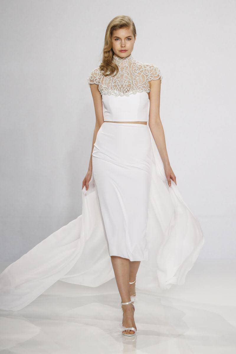 Tea length sleeve wedding dress  Christian Siriano  Bridal Collection  Christian siriano Two