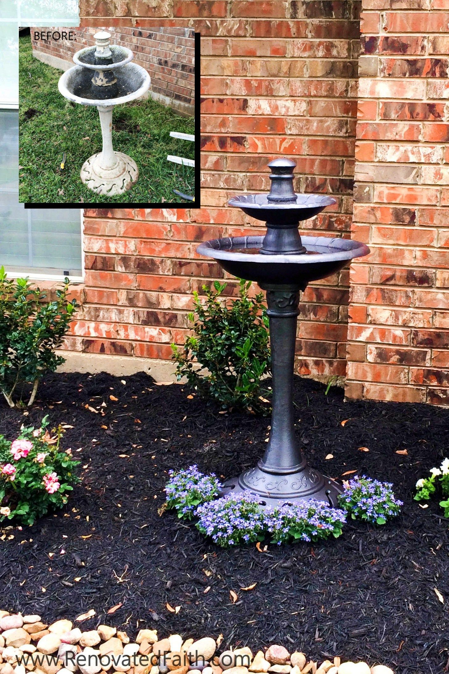 Bird Bath Makeover  Diy Landscape Design Want To Save