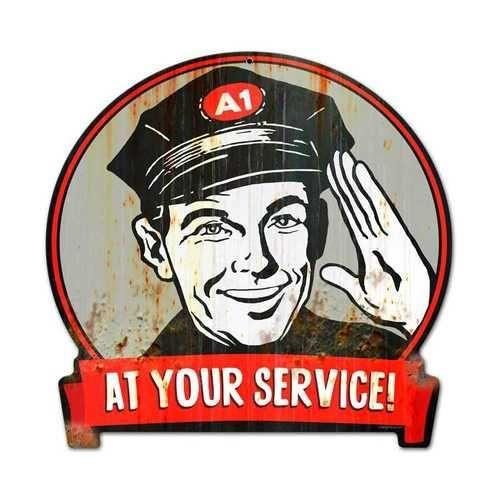 Retro Service Man Round Banner Metal Sign 15 x 16 Inches -  - #banner #Inches #Man #metal #Retro #Service #Sign
