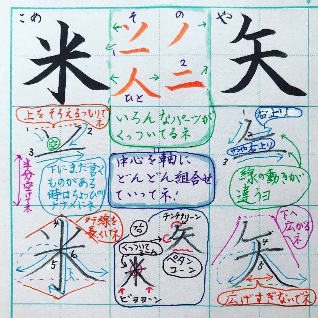 小2で習う漢字 米 矢 最後の両払いが ハイライト 上を広げない