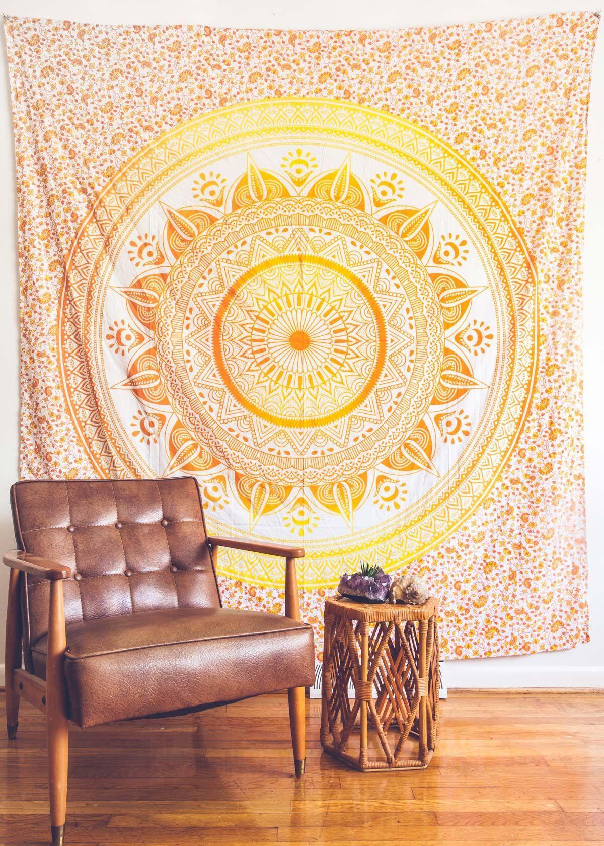 Tangerine Mystic Medallion Tapestry   Boho tapestry, White fabrics ...