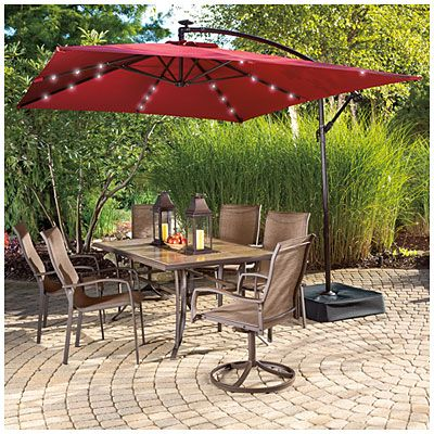 Wilson Fisher 8 X 11 Rectangular Offset Umbrella With Base And Solar Lights Offset Umbrella Rectangular Umbrella Patio Umbrellas