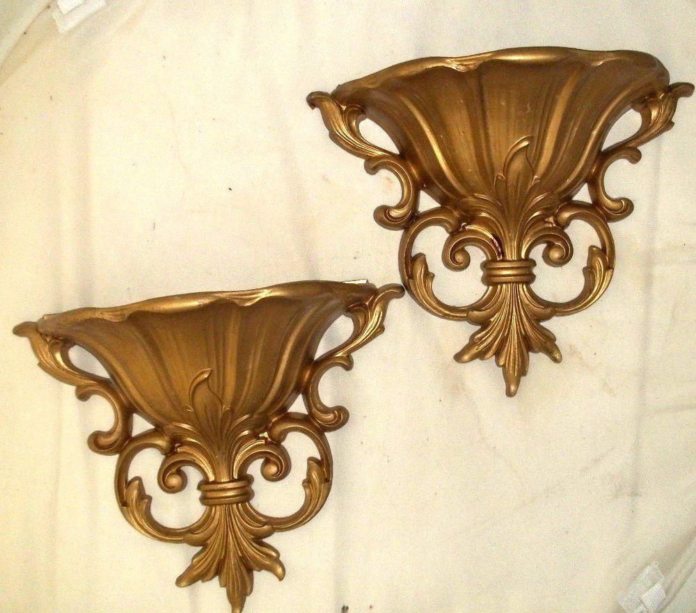 Vintage Home Interiors Homco Dart Gold Wall Pocket Planters 9 1 2