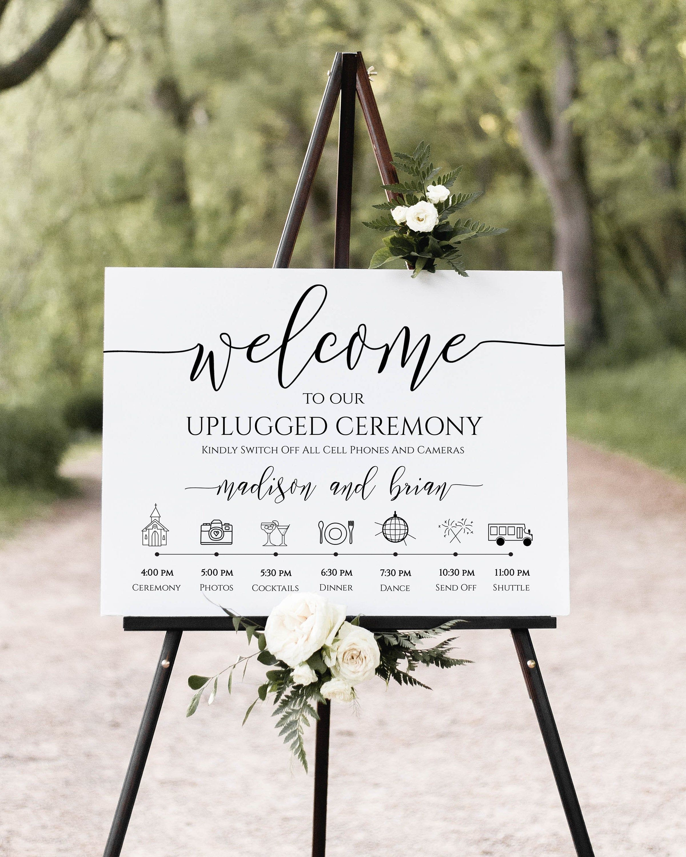 Unplugged Ceremony And Timeline Sign Printable Timeline Wedding Day Schedule No Phones Or In 2020 Wedding Day Schedule Wedding Schedule Wedding Timeline