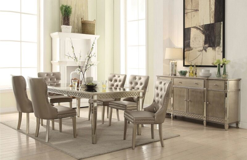 Acme 72155 57 7 Pc Kacela Champagne Finish Wood Mirror Accents Dining Table Set Dining Table Dining Room Sets Solid Wood Dining Table