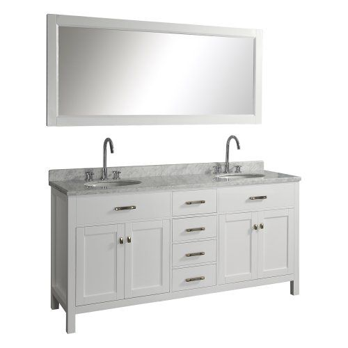 Awesome Websites Cheap Virtu USA Caroline Double Sink Bathroom Vanity with Italian White Carrera Marble Countertop and Mirror White Finish