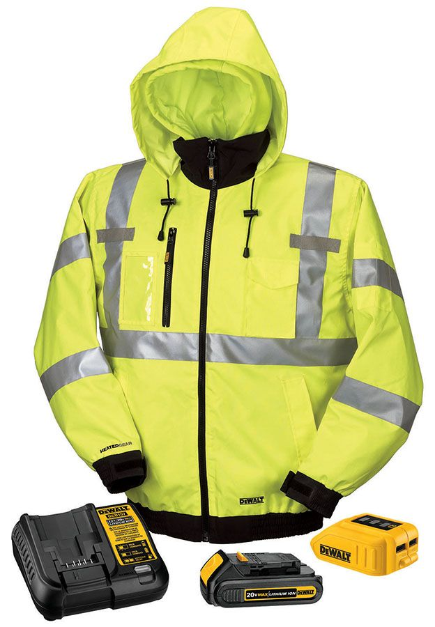 Dewalt Class 3 Hi Vis 3 In 1 Heated Jacket Kit With Adapter Battery And Charger Heated Jacket Jackets Reflective Clothing