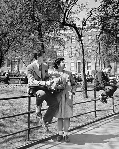 Students in Washington Square Park, 1945, NYU Archives