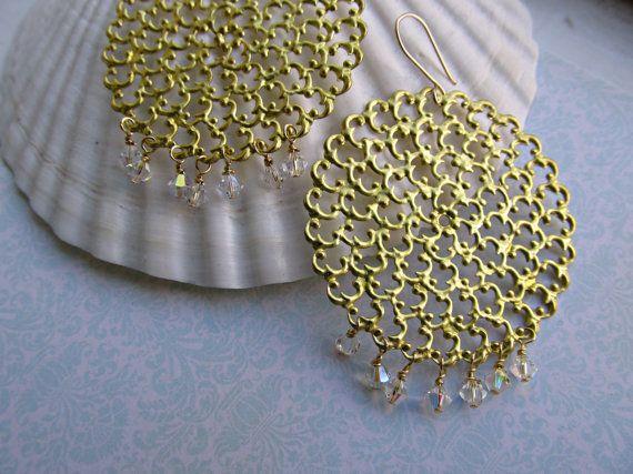 Bohemian earrings Large Gold Filigree by HappyTearsbyMicah on Etsy, $15.00