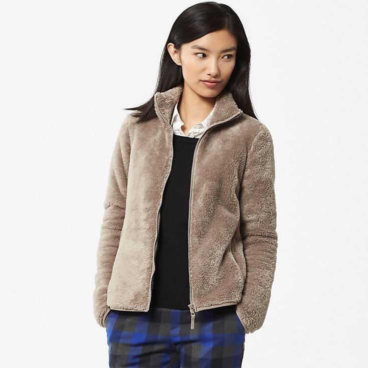 WOMEN FLUFFY YARN FLEECE FULL-ZIP JACKET | Things to Wear ...