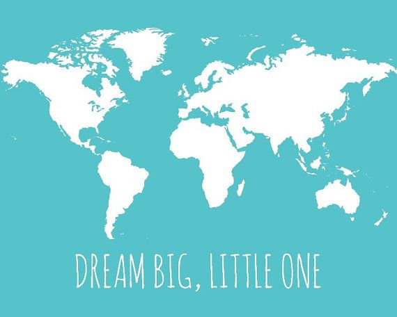 World map for kids dream big little one map by paperplaneprints love world map long distance gift long distance map custom map personalized wedding gift map of world wall map art print grey gumiabroncs Image collections