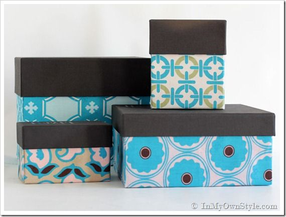 Storage Boxes Decorative Fabric How To Cover Boxes With Fabric Or Wallpaper  Home Organizing
