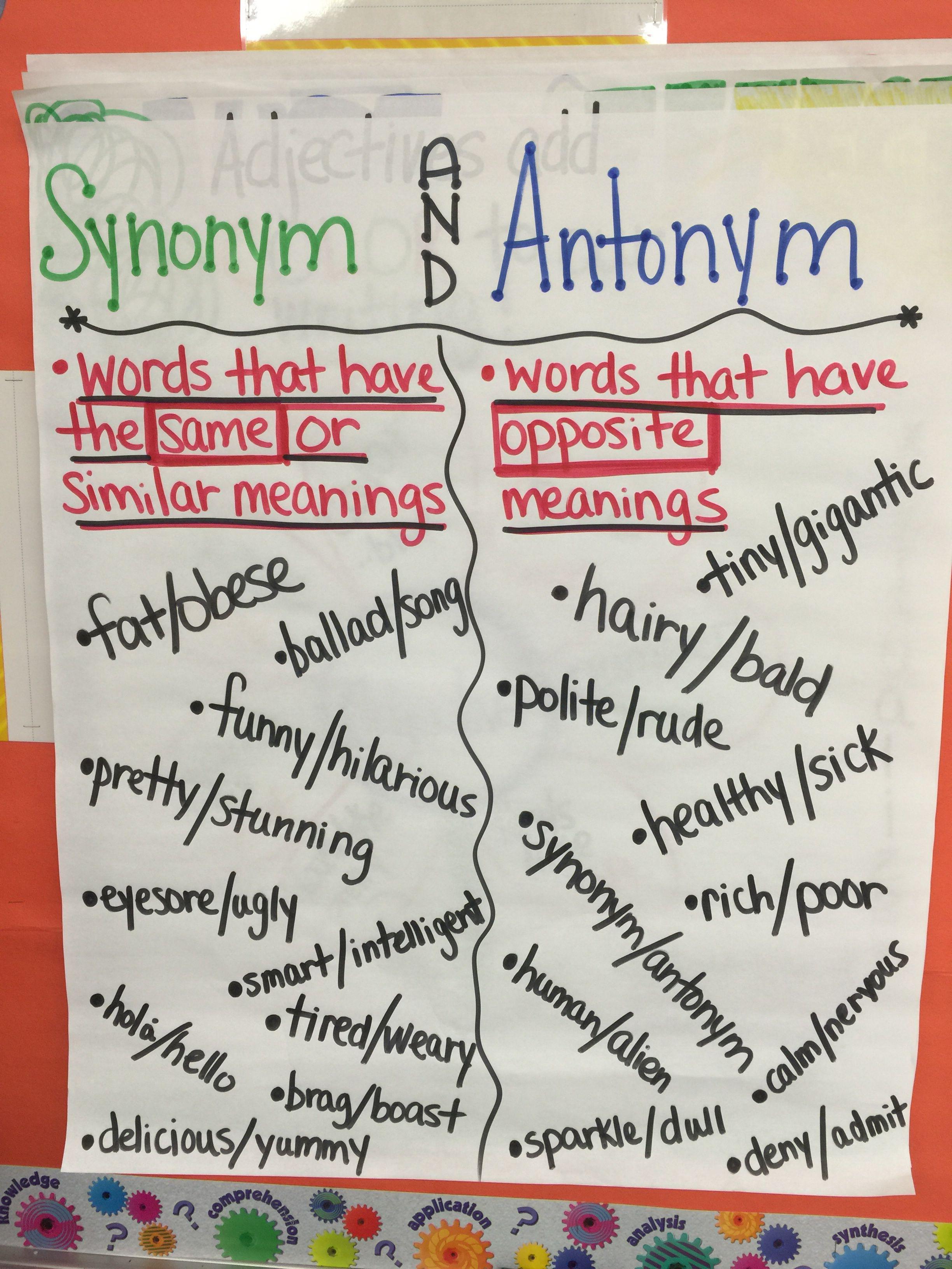 Synonym And Antonym Anchor Chart