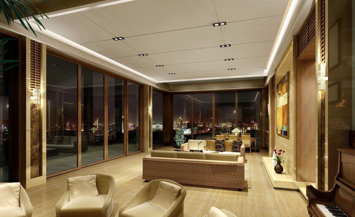Dining Room And Living Room Interior Design 3d Rendering Night