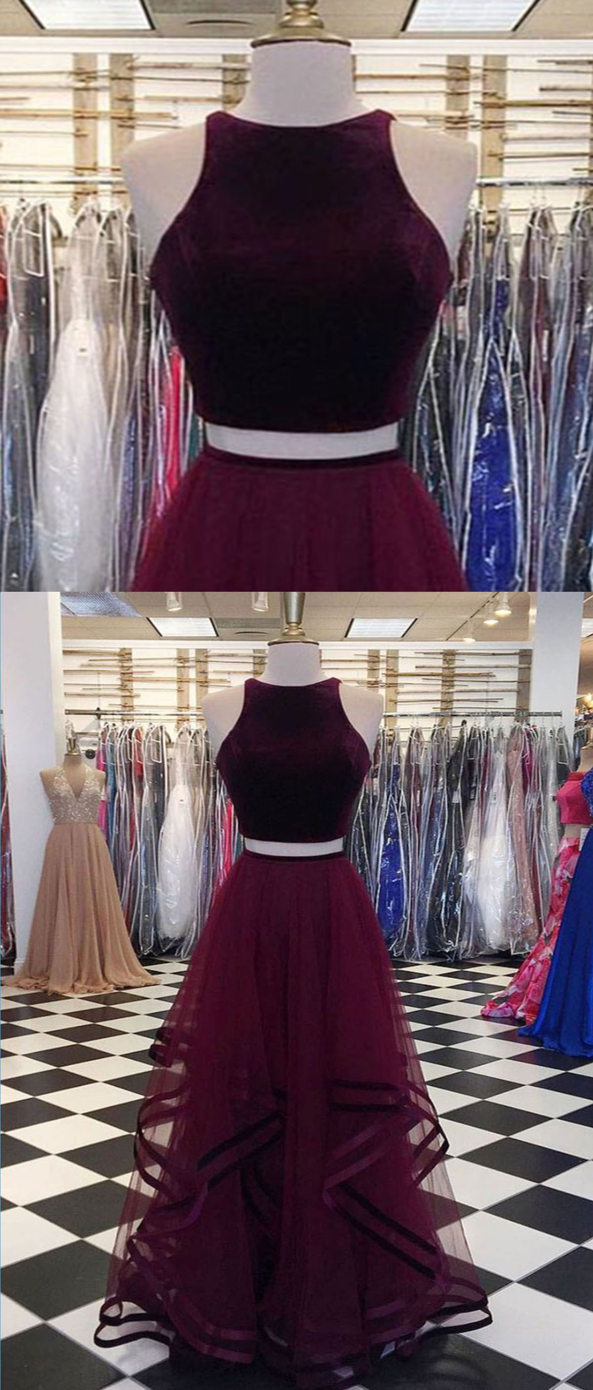 Burgundy velvet top long two pieces tulle party dress long ruffles