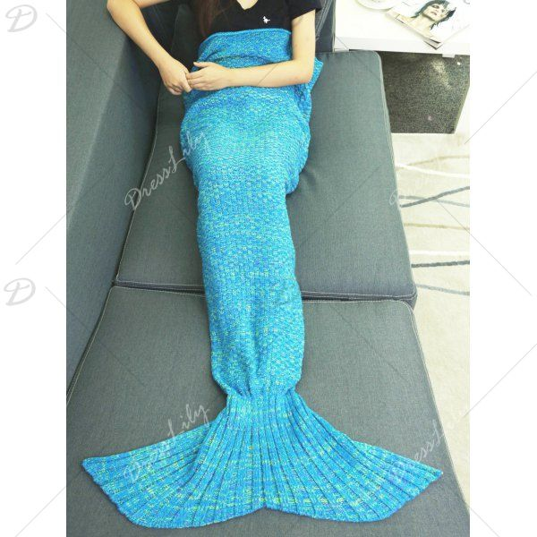 Braided Decor Mermaid Tail Style Knitting Warmth Blanket, BLUE in Blankets & Throws | DressLily.com