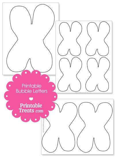 Printable Bubble Letter X Template from PrintableTreats.com | Shapes ...