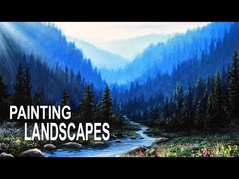 Painting A Realistic Landscape With Acrylics Youtube Oil Painting Landscape Amazing Art Painting Painting Tutorial