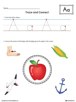Trace Letter A and Connect Pictures Worksheet (Color)