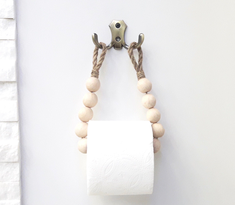 Photo of Toilet Paper Holder. Bathroom Accessories. Rustic Decor. Paper Storage. Brass Hardware.Paper Towel Holder. Jute Rope