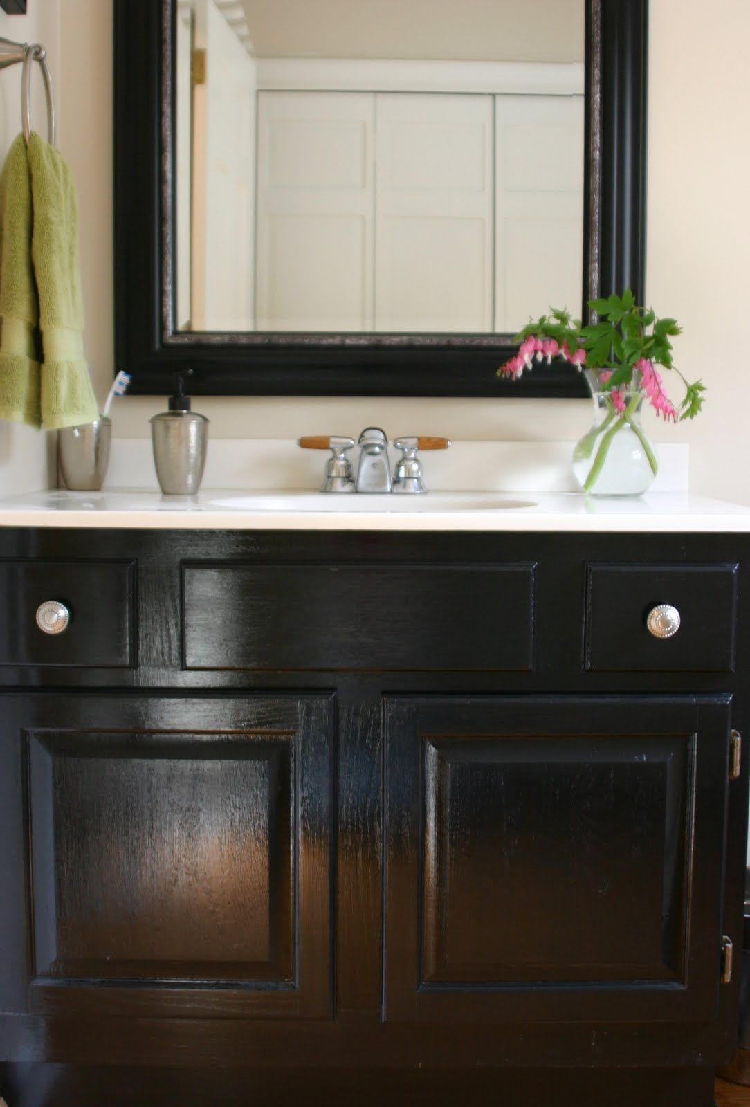 Paint Bathroom Vanity Ideas bathroom update how to paint laminate cabinets the penny drawer