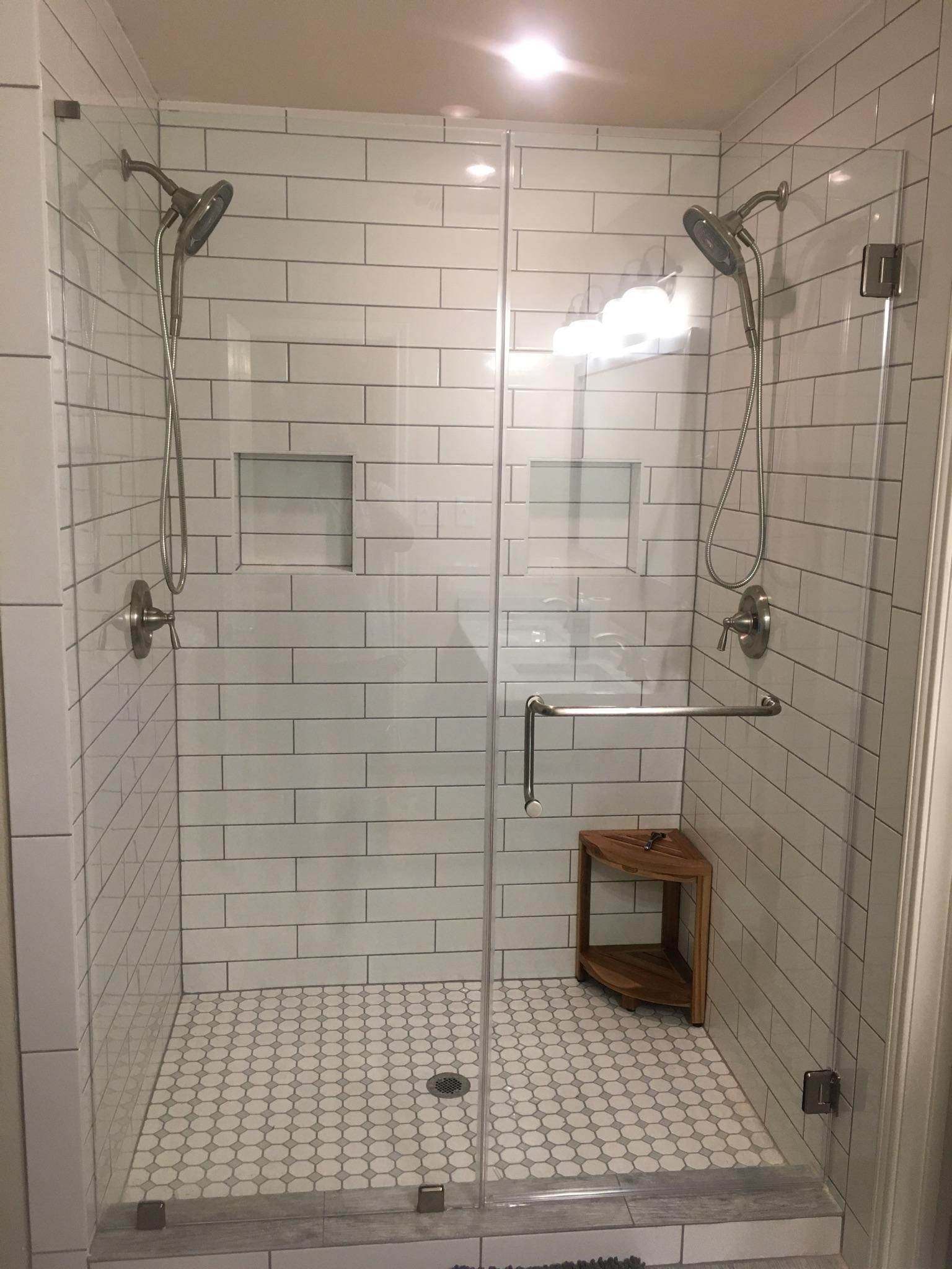 "Master Bath remodel 4"" x 16"" subway tile with gray grout ..."