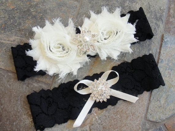 Wedding Garter Set Lace Bridal Keepsake Toss With Rhinestone Ivory Black