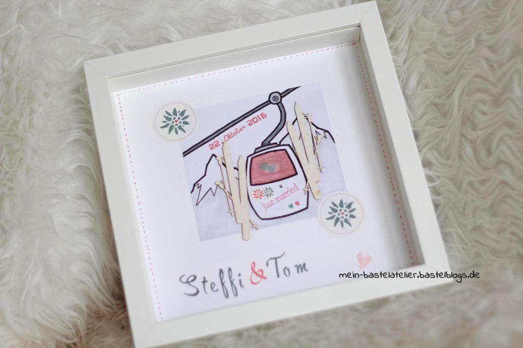 Geldgeschenk zur Hochzeit RIBBA Rahmen Skifahrer Gondel Winter DIY ...
