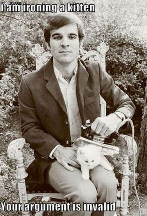 Steve Martin, 1; kitten, 0.