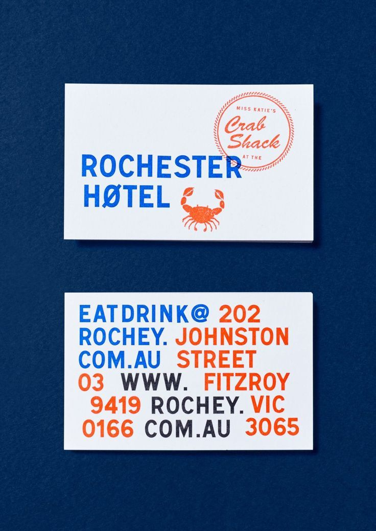 SW PROJECT ROCHESTER HOTEL5 Business Card Restaurant Carte De Visite