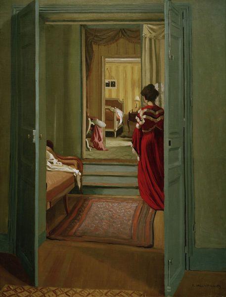 Felix Vallotton, Interieur mit Frau in Rot, 1903, Öl auf Leinwand ...