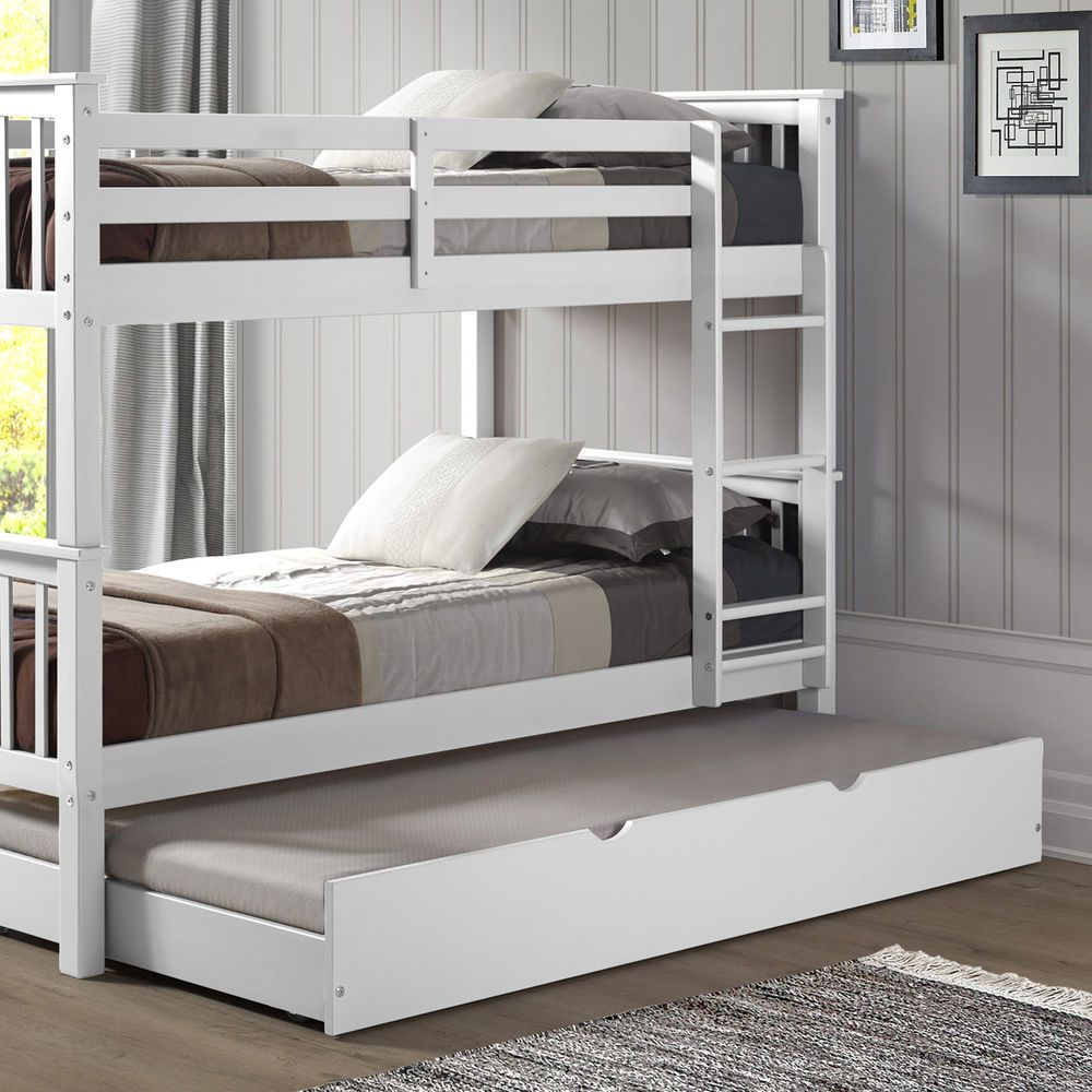 Twin Size Trundle Bed Under The Bunk Bed For Guest Sleeping With